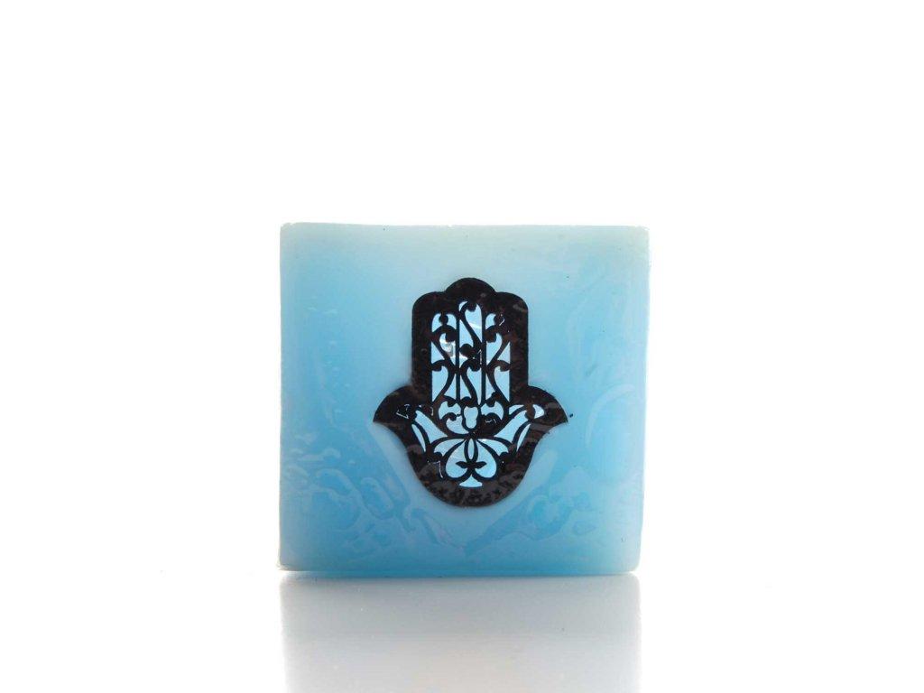 Orientální svíčka Ruka Fatimy - světle modrá