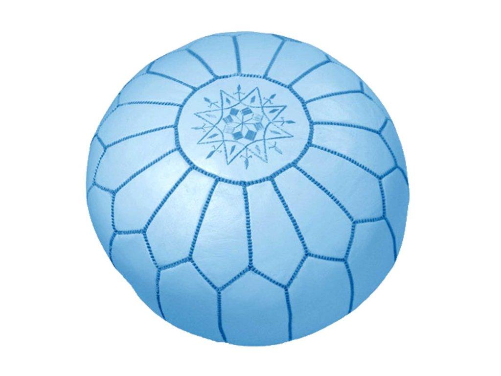 Orientální marocký taburet Chefchaouen - modrý s modrým prošíváním