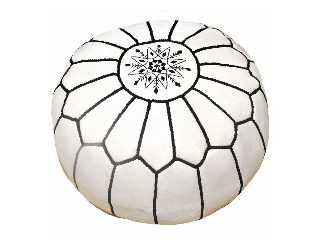 Orientální marocký taburet Beyaz - bílý s černým prošíváním