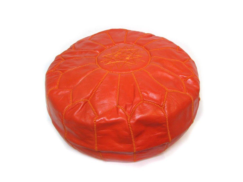 Orientální marocký taburet Orangia - cihlový s oranžovým prošíváním
