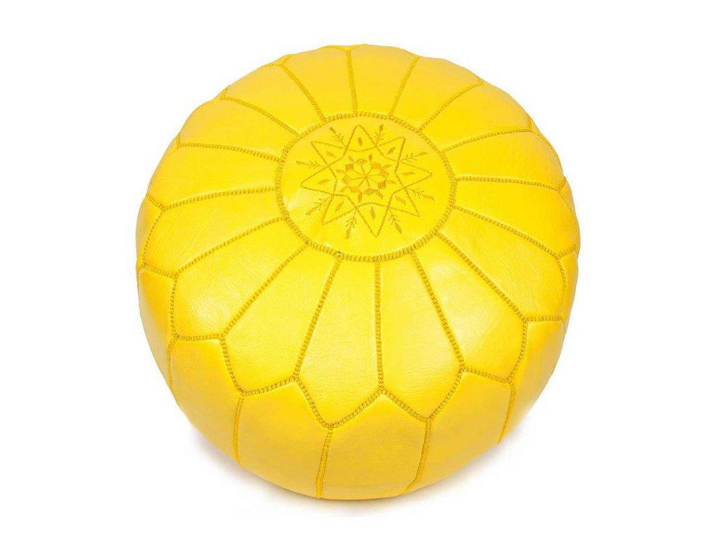Orientální marocký taburet Gunes - žlutý se žlutým prošíváním