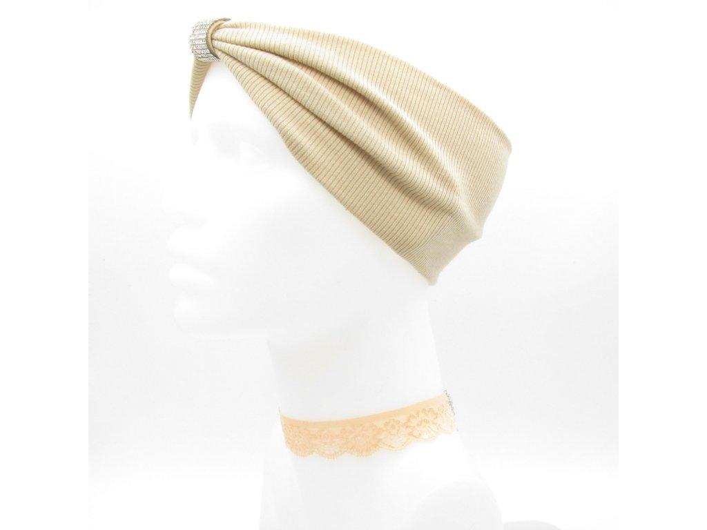 Turbanová čelenka s kamínkovou dekorací - béžová