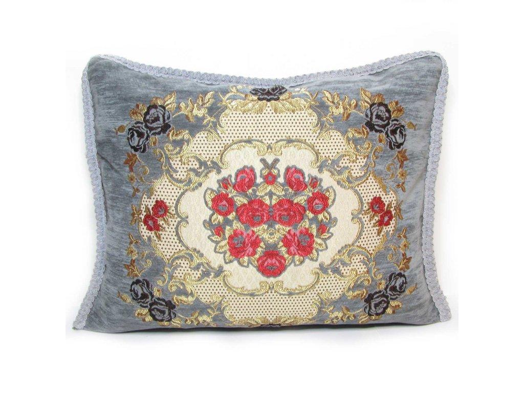 Povlak na polštář Fayza - šedo-béžový s květinovým ornamentem