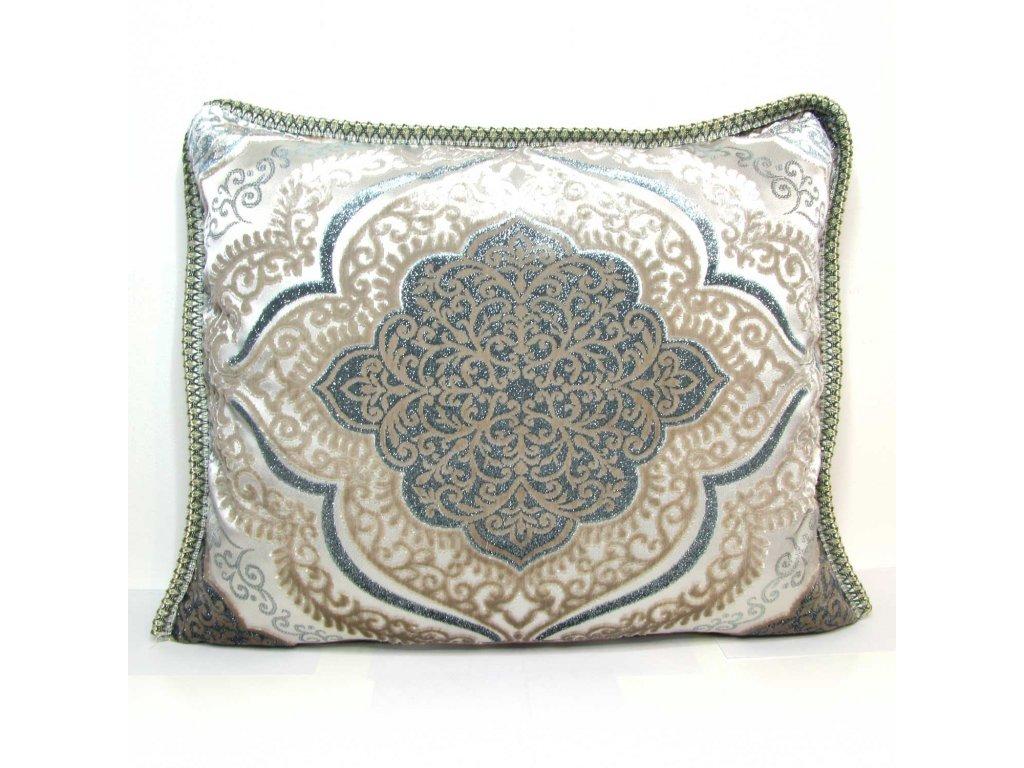 Povlak na polštář Salma - šedo-stříbrný s modravými ornamenty