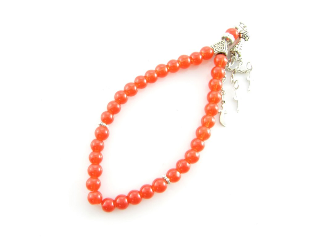 Růženec - Jadeit - oranžový