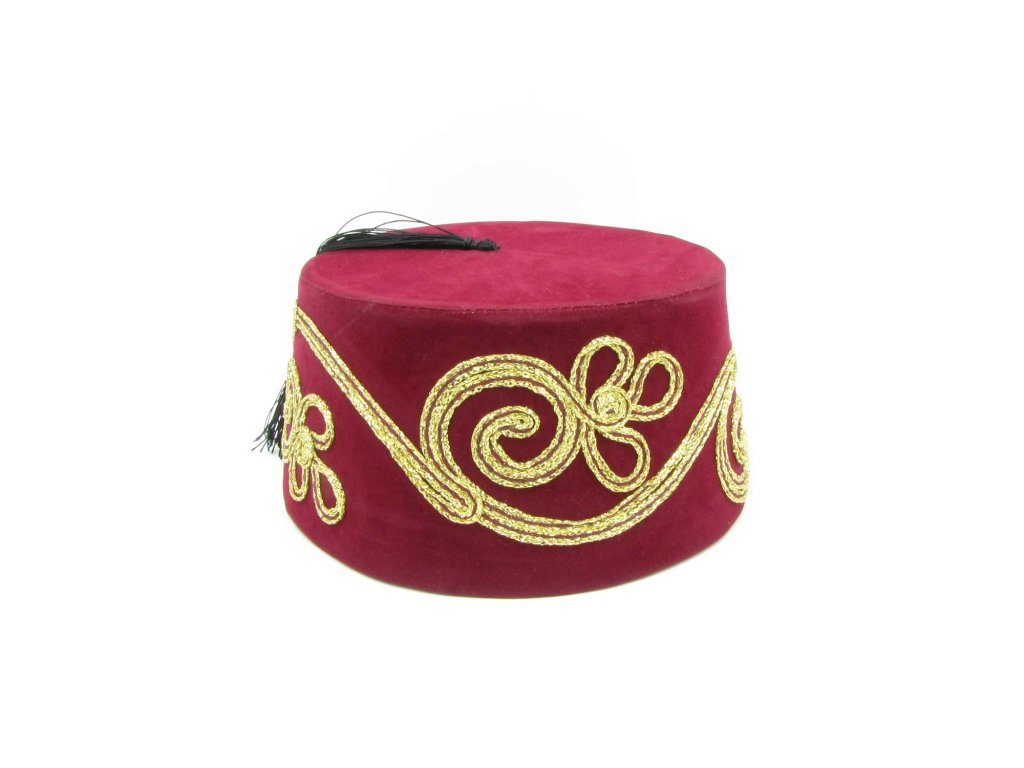 Fes - turecká čepice - bordó se zlatou dekorací