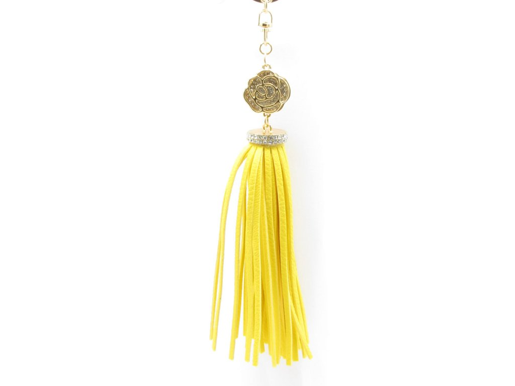 Přívěsek - klíčenka - střapec - žlutý