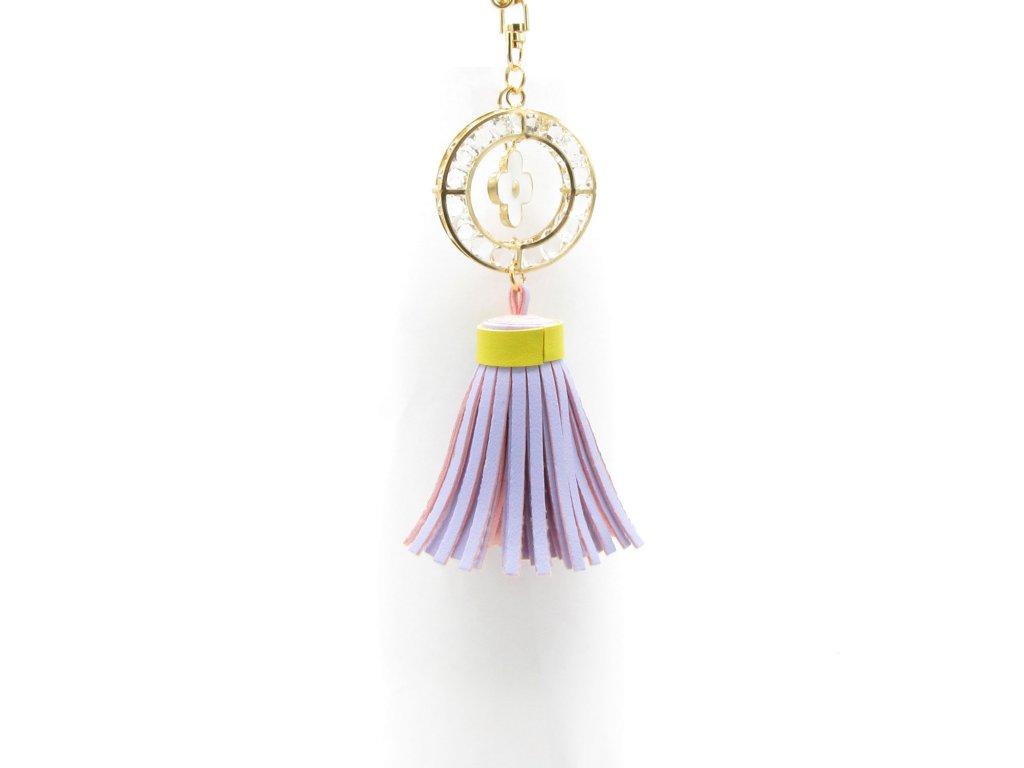 Přívěsek - klíčenka - střapec - světle fialový
