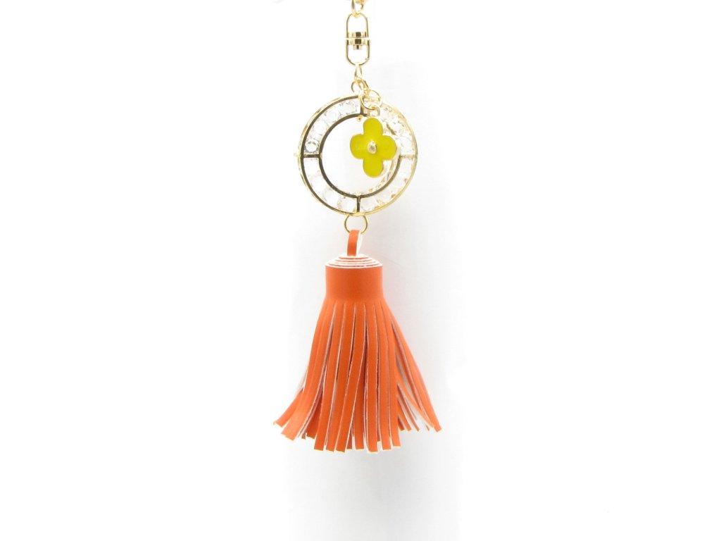Přívěsek - klíčenka - střapec - oranžový
