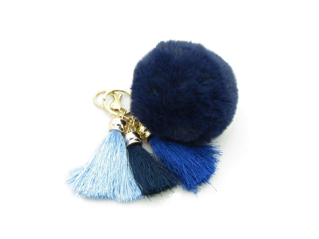 Přívěsek - klíčenka - pompon se střapci - modrý