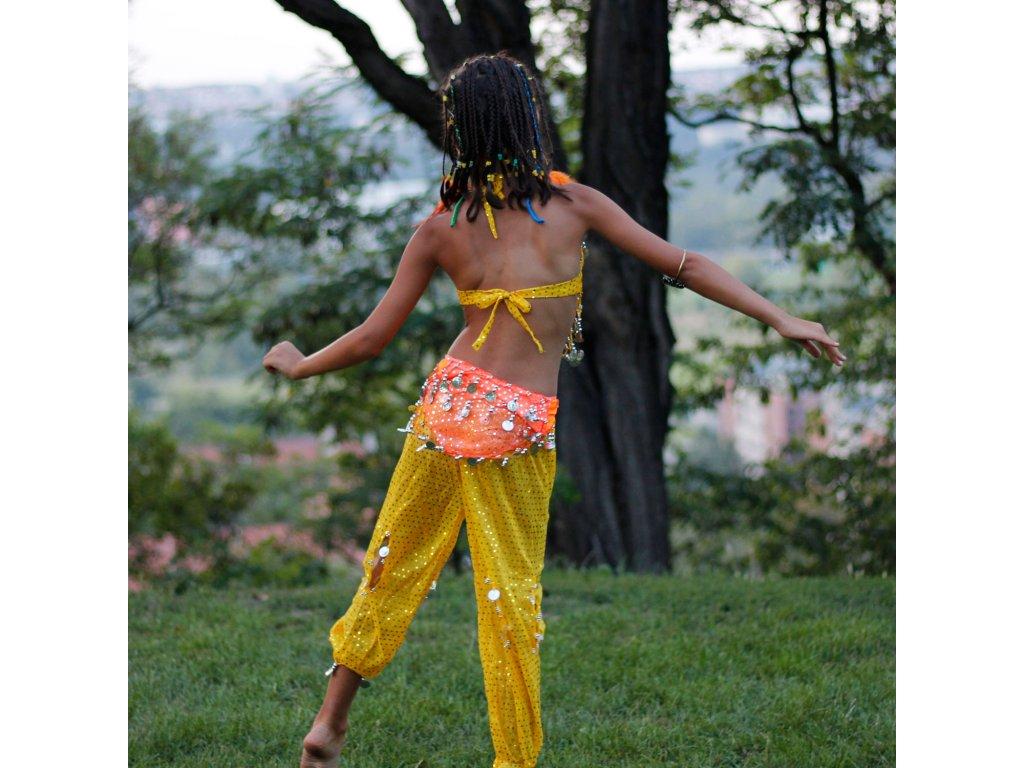 6ca75c89d19 Dětský kostým na břišní tance - top + kalhoty - žlutý - Smilargan