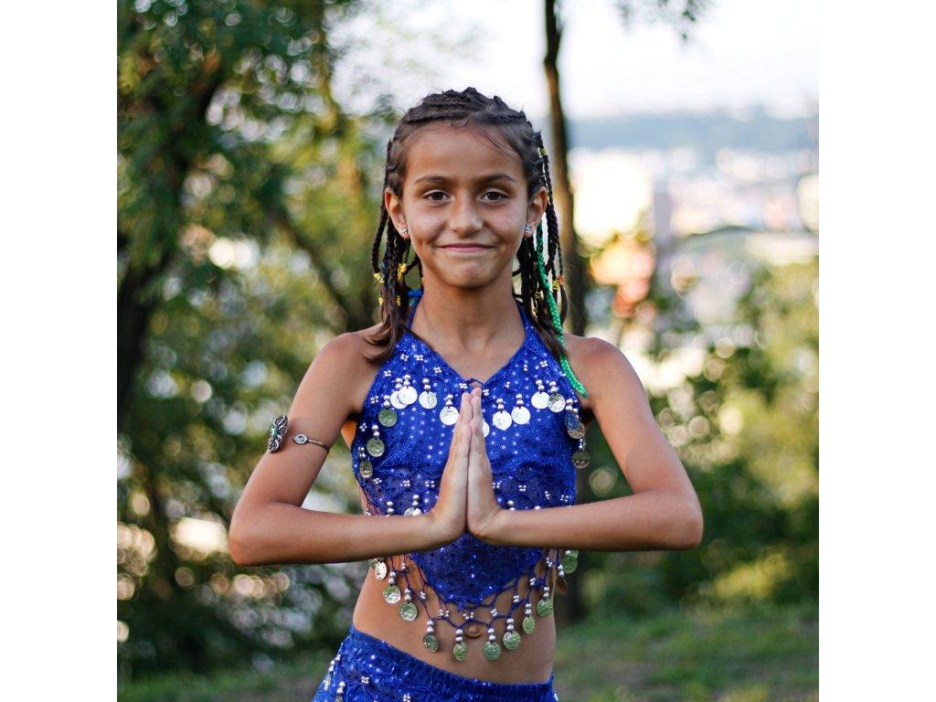 dd39284b19a Dětský kostým na břišní tance - top + kalhoty - modrý - Smilargan