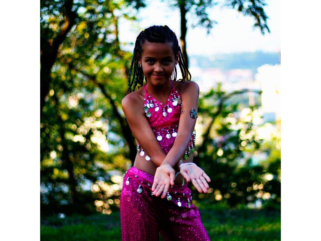 de9c364a58d Dětský kostým na břišní tance - top + kalhoty - růžový - Smilargan