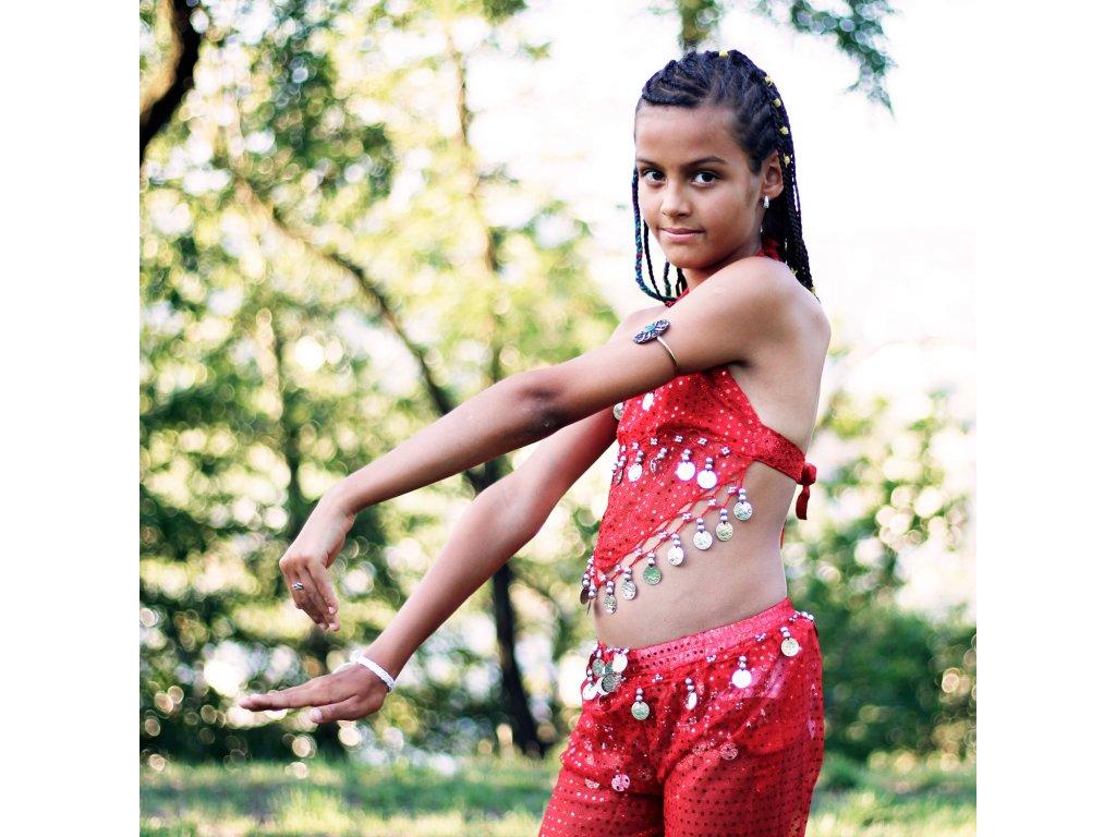 d2f587bcafc Dětský kostým na břišní tance - top + kalhoty - červený - Smilargan