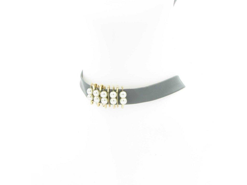 Choker - šedý s perlami