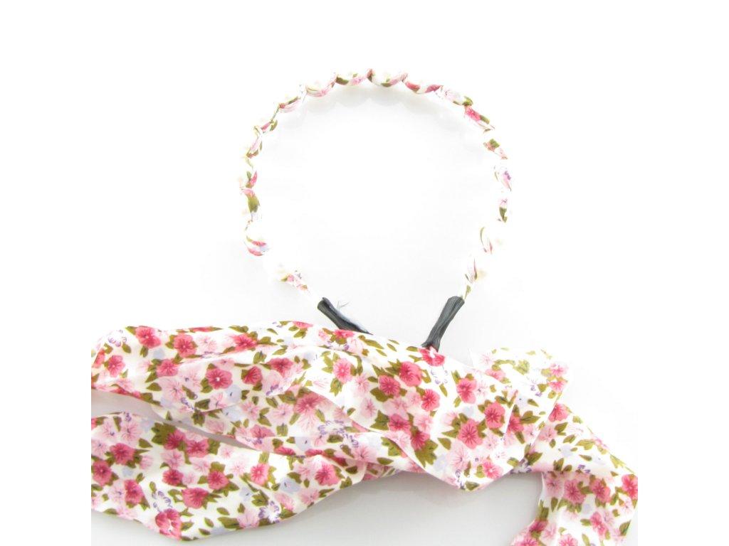 Čelenka do vlasů s perlami - Růžový kvítek