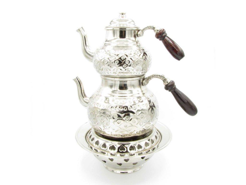 Dvojkonvice na čaj Zarivar s podstavcem - měděná tepaná