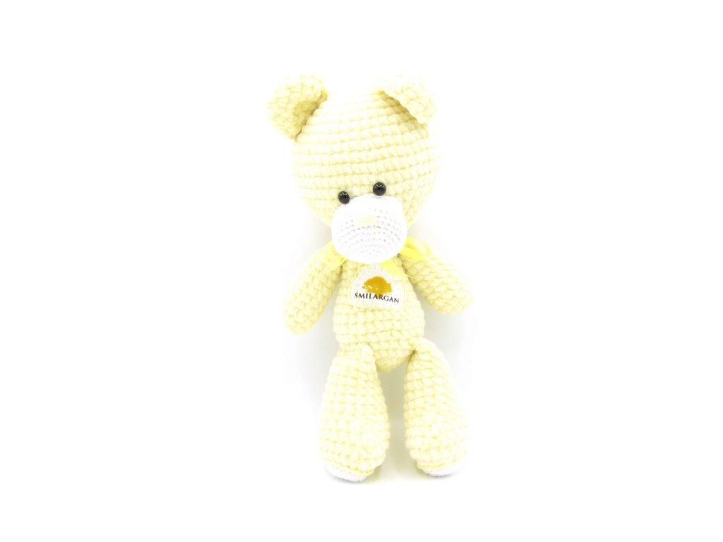 Háčkovaný medvídek Smilargan - žlutý