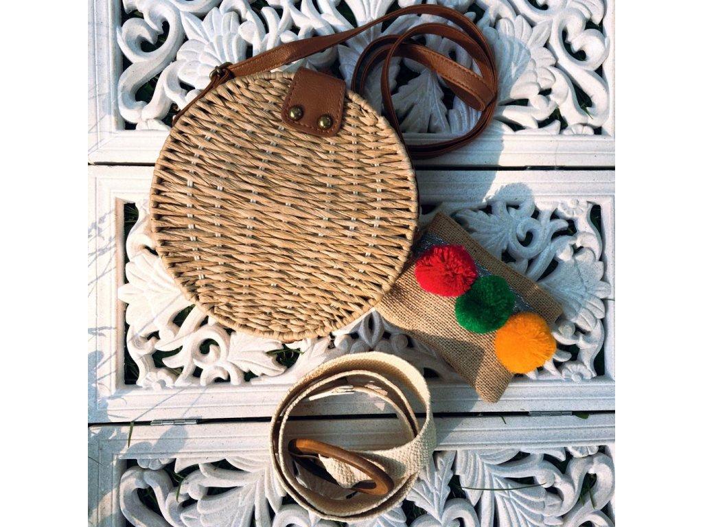 Pletená slaměná košíková kabelka - Maya - béžová