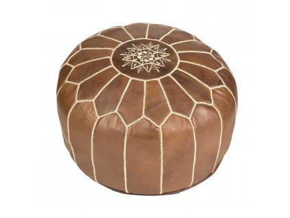 Orientální marocký taburet Fás - hnědý s béžovým prošíváním