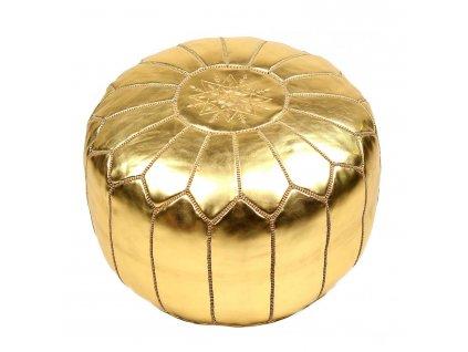 Orientální marocký taburet Royal Palace - zlatý se zlatým prošíváním