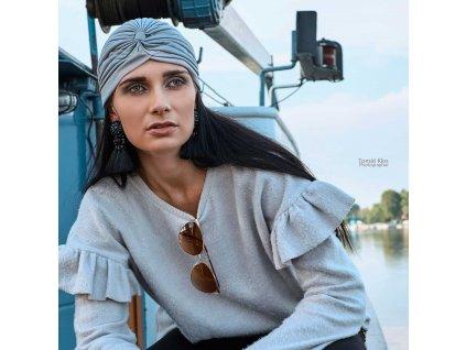 Dámský turban - šedý