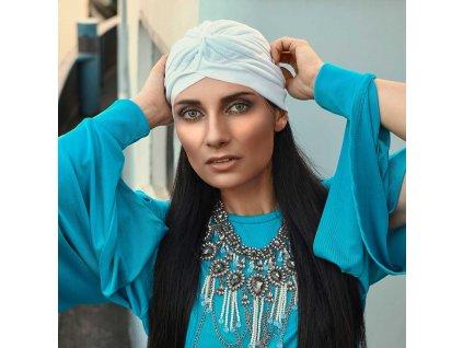 Dámský turban - bílý
