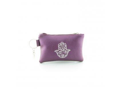 Pouzdro na klíče s rukou Fatimy - fialové - mini