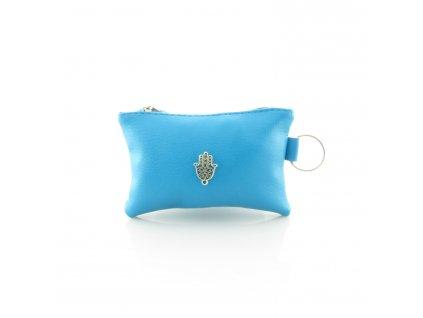 Pouzdro na klíče s rukou Fatimy - modré - mini