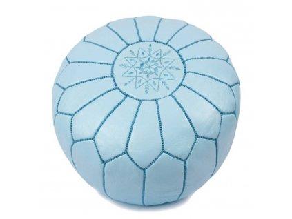 Orientální marocký taburet Alya - nebesky modrý s modrým prošíváním
