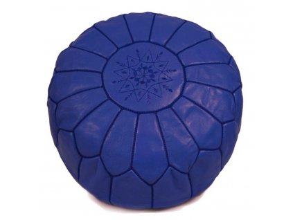 Orientální marocký taburet Amaya - tmavě modrý s modrým prošíváním