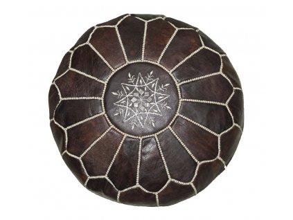 Orientální marocký taburet Marron - tmavě hnědý s béžovým prošíváním