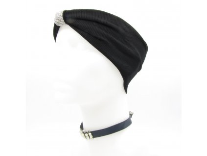 Turbanová čelenka s kamínkovou dekorací - černá