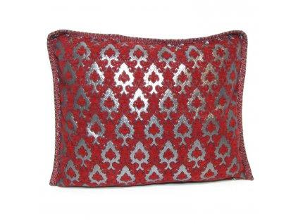Povlak na polštář Amira - stříbrný s červenými ornamenty