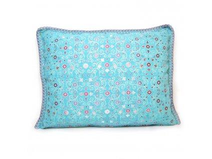Povlak na polštář Turquoise - tyrkysový s květinami