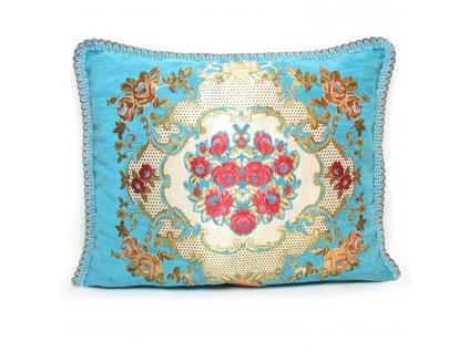 Povlak na polštář Idris - tyrkysový s květinovým ornamentem