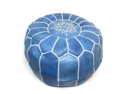 Orientální marocký taburet Denim - džínově modrý s bílým prošíváním