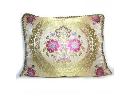 Povlak na polštář Maya - béžový se zlatými ornamenty