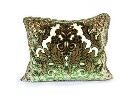 Povlak na polštář Imane - béžový se zelenými ornamenty