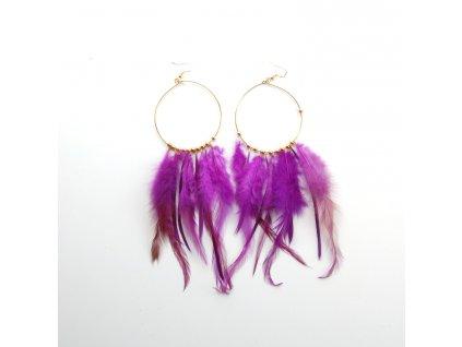 Náušnice - peří - fialové