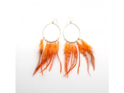Náušnice - peří - oranžové