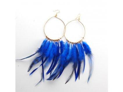 Náušnice - peří - modré