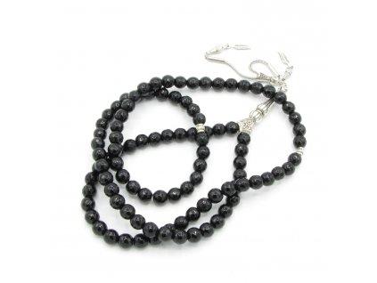 Růženec - Onyx - černý broušený - dlouhý