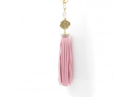 Přívěsek - klíčenka - střapec - světle růžový