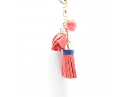 Přívěsek - klíčenka - střapec s pomponem - růžovo-oranžový