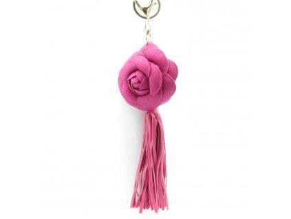 Přívěsek - klíčenka - střapec - květina - růžový