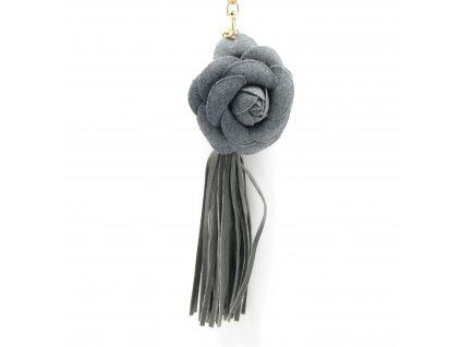 Přívěsek - klíčenka - střapec - květina - šedý