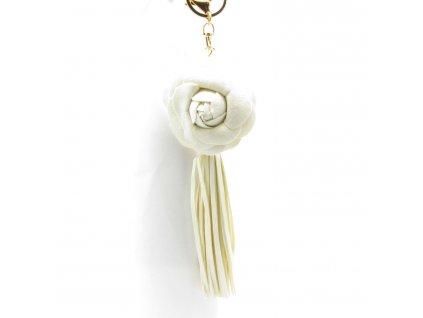 Přívěsek - klíčenka - střapec - květina - bílý