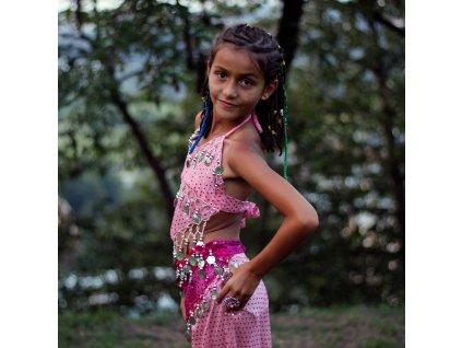 Dětský kostým na břišní tance - top + kalhoty - světle růžový