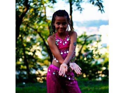 Dětský kostým na břišní tance - top + kalhoty - růžový